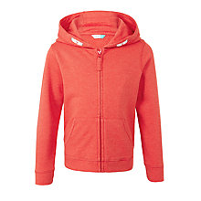 Buy John Lewis Children's Full Zip Cotton Hoodie, Cayenne Online at johnlewis.com