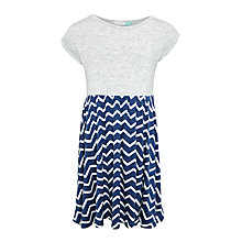 Buy John Lewis Girls' Chevron Stripe Jersey Dress, Navy/Grey Online at johnlewis.com
