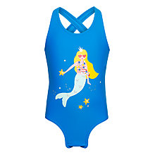 Buy John Lewis Girls' Mermaid Splash Swimsuit, Royal Blue Online at johnlewis.com