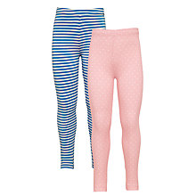 Buy John Lewis Girls' Leggings, Pack of 2, Pink Online at johnlewis.com