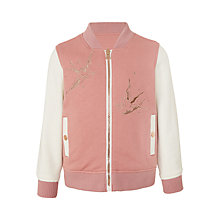 Buy John Lewis Girls' Bird Bomber Jacket, Peach Blossom Online at johnlewis.com
