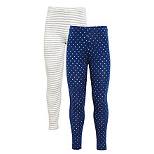 Buy John Lewis Girls' Spot and Stripe Leggings, Pack of 2, Grey/Blue Online at johnlewis.com