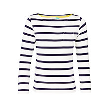 Buy John Lewis Girls' Breton Stripe Top, White/Navy Online at johnlewis.com