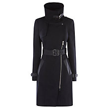 Buy Karen Millen Cotton Investment Coat, Black Online at johnlewis.com