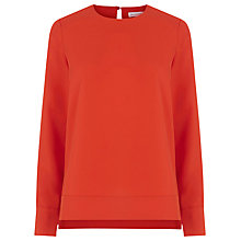 Buy Warehouse Dipped Hem Top, Bright Red Online at johnlewis.com