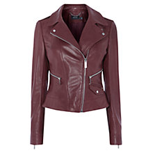 Buy Karen Millen Investment Leather Biker Jacket, Dark Red Online at johnlewis.com