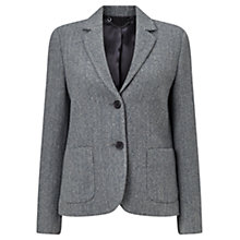 Buy Jigsaw Herringbone Patch Pocket Jacket, Navy Online at johnlewis.com