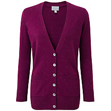 Buy Pure Collection Tiana Boyfriend Cardigan, Berry Fleck Online at johnlewis.com