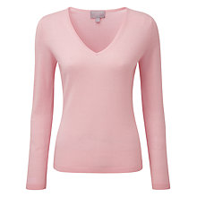Buy Pure Collection Leighton Cashmere V Neck Jumper, Soft Pink Online at johnlewis.com