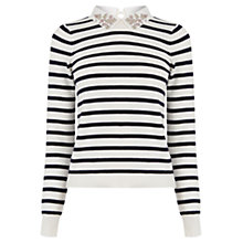 Buy Oasis Striped Embellished Collar Jumper, Multi Online at johnlewis.com
