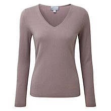 Buy Pure Collection Kendal V Neck Jumper, Smokey Rose Online at johnlewis.com