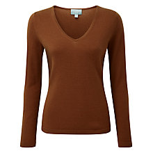 Buy Pure Collection Jaycee V Neck Jumper, Rich Bronze Online at johnlewis.com