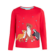 Buy John Lewis Buster the Boxer Woodland Animals Long Sleeve Top, Red Online at johnlewis.com