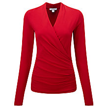 Buy Pure Collection Devonport Wrap Top, Scarlet Online at johnlewis.com