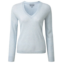 Buy Pure Collection Devon V Neck Jumper, Frost Blue Online at johnlewis.com