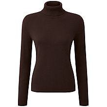 Buy Pure Collection Maria Roll Neck Jumper, Chocolate Online at johnlewis.com