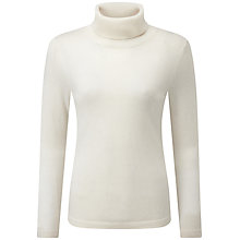 Buy Pure Collection Carolina Cashmere Roll Neck Jumper, Soft White Online at johnlewis.com
