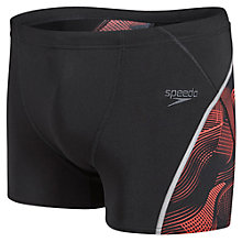 Buy Speedo Fit Graphic Aquashorts, Black/Red Online at johnlewis.com
