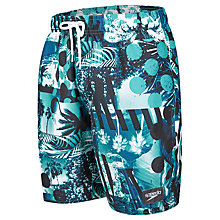 "Buy Speedo Tropical Print Leisure 18"" Watershorts, Black/Blue Online at johnlewis.com"