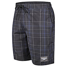 "Buy Speedo Check Leisure 18"" Watershorts, Black/Grey Online at johnlewis.com"