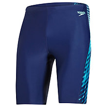 Buy Speedo Placement Curve Panel Jammer Swimming Shorts, Blue/Green Online at johnlewis.com