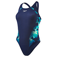 Buy Speedo Cosmic Point Placement Powerback Swimsuit, Navy/Green Online at johnlewis.com