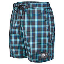 "Buy Speedo Check Leisure 16"" Watershorts, Green Online at johnlewis.com"