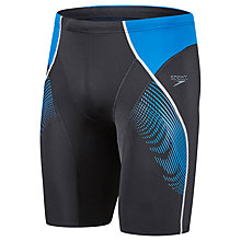 Buy Speedo Fit Panel Jammer Swimming Shorts, Black/Blue Online at johnlewis.com