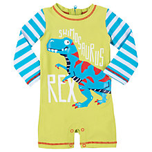 Buy Hatley Baby T-Rex Sunproof Rash Guard Swimsuit, Green/Blue Online at johnlewis.com
