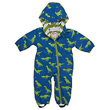Buy Hatley Baby T-Rex Dinosaur Waterproof Pramsuit, Blue/Green Online at johnlewis.com