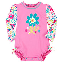 Buy Hatley Baby Retro Wallpaper Flower Print Swimsuit, Pink Online at johnlewis.com