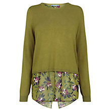Buy Oasis Painted Rose Wrap Back Knitted Top, Khaki Online at johnlewis.com