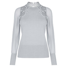 Buy Oasis Lace And Sheer Sleeve Knitted Top, Mid Grey Online at johnlewis.com
