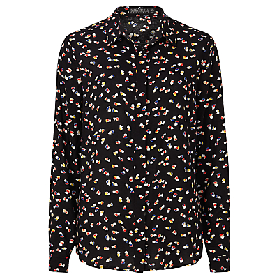 Sugarhill Boutique Blair Heart Print Shirt, Black/Multi