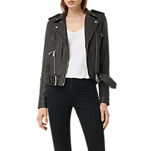 Buy AllSaints Gidley Biker, Dark Slate Online at johnlewis.com