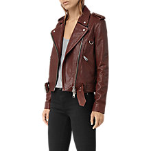 Buy AllSaints Gidley Biker, Oxblood Online at johnlewis.com