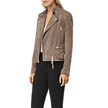 Buy AllSaints Kerr Suede Biker, Mushroom Online at johnlewis.com