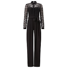 Buy Phase Eight Lace Shirt Jumpsuit, Black Online at johnlewis.com
