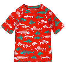 Buy Hatley Boys' Fish Bones Short Sleeve Rashie, Orange/Multi Online at johnlewis.com