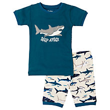Buy Hatley Children's Toothy Sharks Shortie Pyjamas, Blue/Cream Online at johnlewis.com