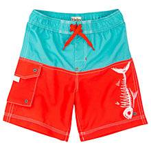 Buy Hatley Boys' Fish Bones Colour Block Board Shorts, Orange/Multi Online at johnlewis.com