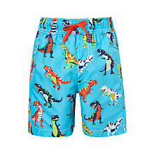 Buy Hatley Boys' Roaring T-Rex Swim Trunks, Blue/Multi Online at johnlewis.com