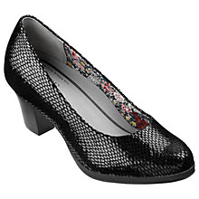 Buy Hotter Angelica Block Heeled Court Shoes, Black Snake Online at johnlewis.com