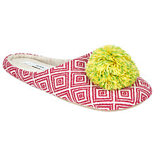 Buy John Lewis Aztec Pom Mule Slippers, Pink Online at johnlewis.com