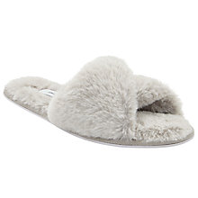 Buy John Lewis Criss Cross Faux Fur Slider Slippers, Soft Grey Online at johnlewis.com