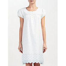 Buy John Lewis Circle Flower Embroidered Night Dress, White/Blue Online at johnlewis.com