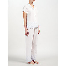 Buy John Lewis Circle Flower Embroidered Short Sleeve Pyjama Set, White/Blue Online at johnlewis.com