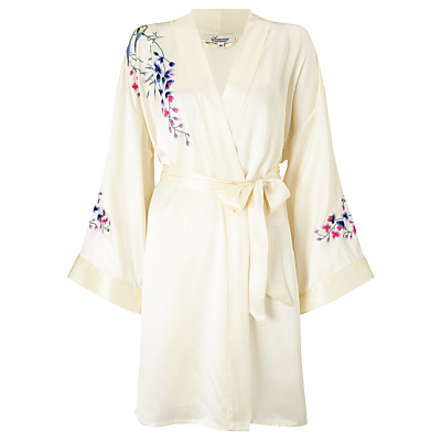 Somerset by Alice Temperley Wisteria Embroidered Silk Kimono, Ivory/Multi