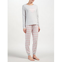 Buy John Lewis Lydia Heart Stripe Long Sleeved Pyjama Set, Grey/Pink Online at johnlewis.com