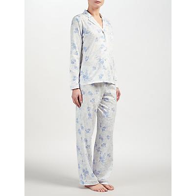 John Lewis Carmen Floral Print Pyjama Set, Ivory/Blue
